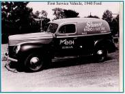 Dick purchased a used 1940 Ford panel truck for service and delivery. In those days most repairs were a matter of changing a tube.