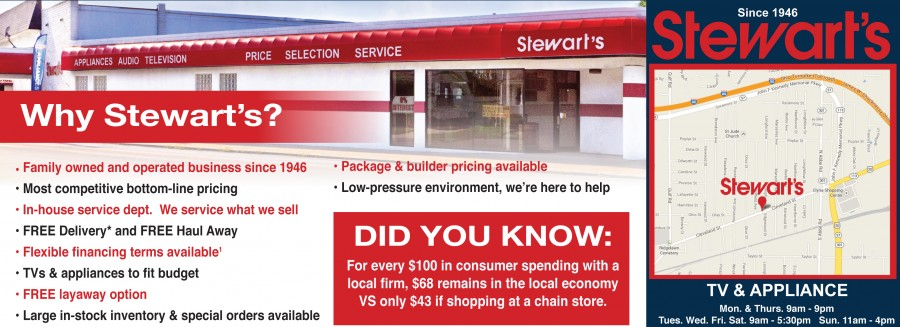 Visit Stewart's for All your ApplianceNeeds
